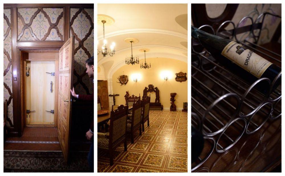 Colaj cu imagini de la intrarea în buncărul secret al familiei Ceaușeascu, dar și din interior © Mediafax
