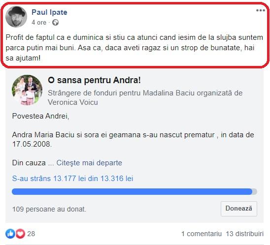 Paul Ipate, apel disperat pe Facebook! Andra e grav bolnavă